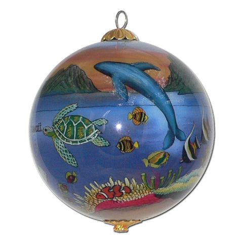 Hawaiian Christmas ornament with humpback whales and honu sea turtles