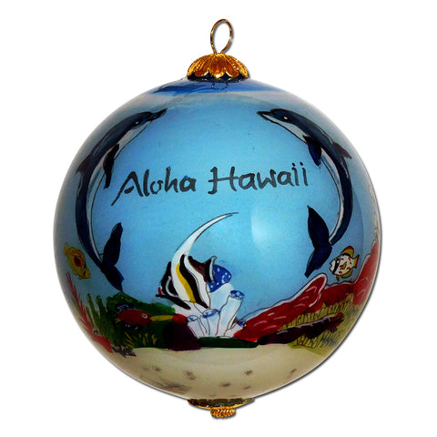 Hawaii ornament with hand painted dolphins