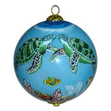 Hawaiian Christmas ornament hand painted with kissing dolphins