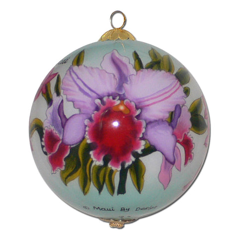 Beautiful Hawaii Christmas ornament with orchids