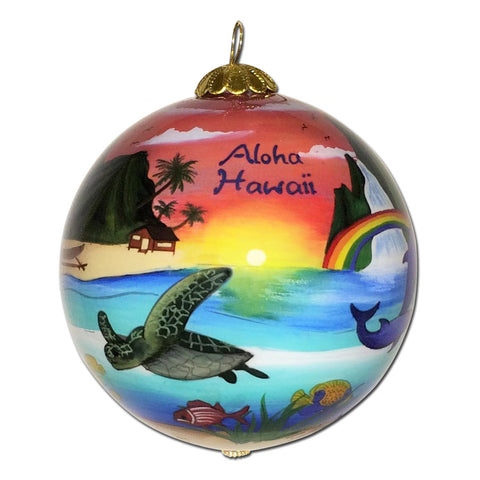 Hawaii ornament with sea turtles, rainbows and waterfalls