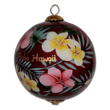 Hawaiian Christmas ornament with creamy white and pink plumeria