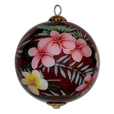 Beautiful Hawaii Christmas ornament with plumeria flowers
