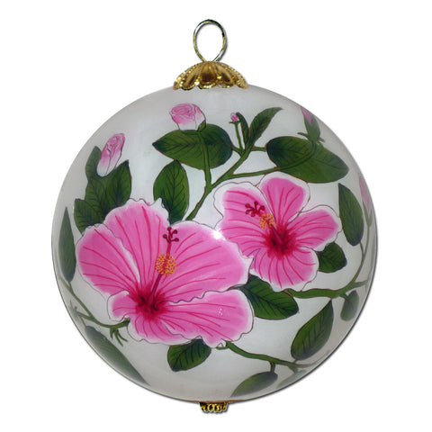 Hawaii Christmas ornament with pink hibiscus and plumeria