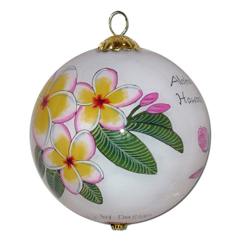 Beautiful Hawaiian ornament with plumeria and pink hibiscus