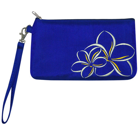 Blue Hawaii wristlet with embroidered plumeria