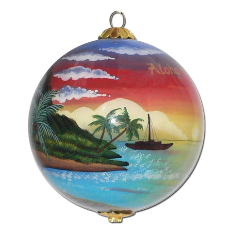 Palm Sunset Hawaiian Christmas Ornament