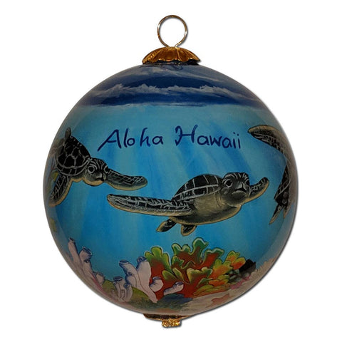 Hawaii Christmas ornament with sea turtles