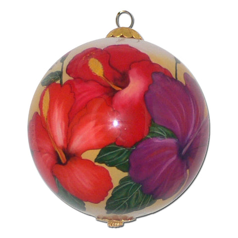 Hawaiian ornament with hand painted Hawaiin hibiscus flowers