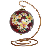 Red Sunset Plumeria Hawaiian Ornament