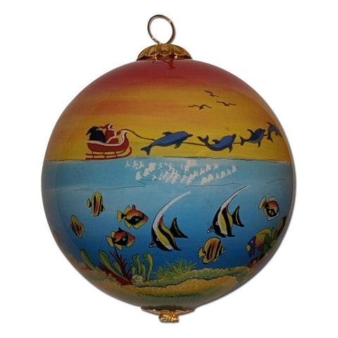 Hawaiian Christmas Ornament with Santa's sled pulled by dolphins