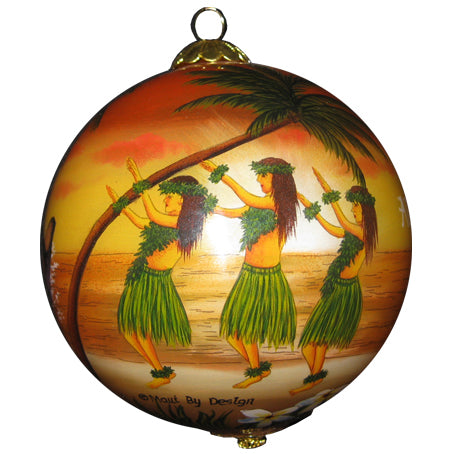 Sunset Hawaiian Hula Christmas Ornament
