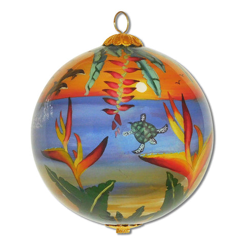 Hand painted Hawaii ornament with Bird of Paradise, sea turtles and dolphins