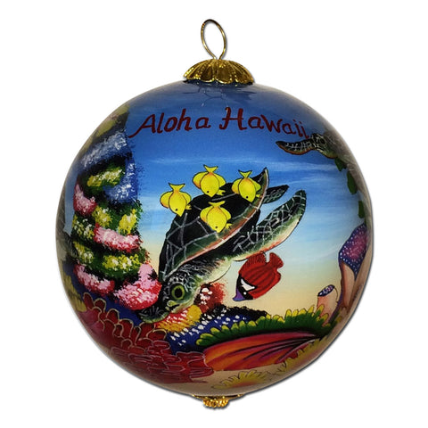 Hand painted Hawaii ornament with honu sea turtles