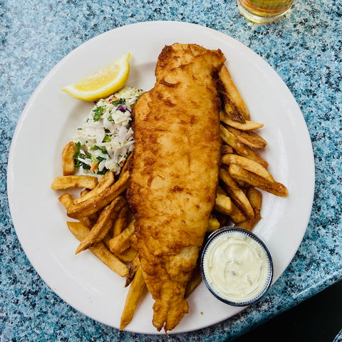 Ottawa Authentic Fish n' chips from the Cheshire Cat Pub in Carp, Carp's British pub with beer battered haddock served with fries and coleslaw