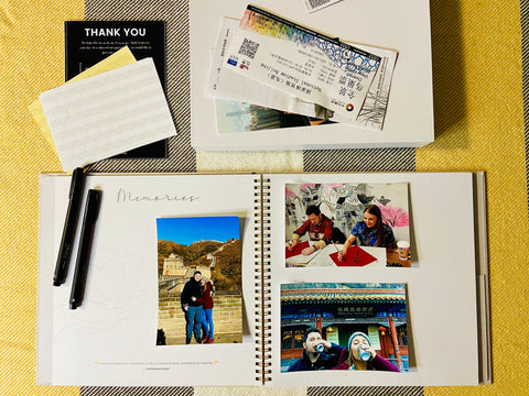 Memory book, gift idea and at home activity in Ottawa Canada, Ottawa company wishslate, gift giving app and local gift ideas, luxury linen memory book for keepsakes and quotes, make a scrapbook at home in Canada, white memories book