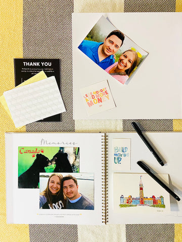 Ottawa gift idea for family and friends, white linen memory book with quotes, sharpies and photo adhesives, from Wishslate Ottawa company, keep your Canadian adventures and memories, give the gift of memories keepsake, Ottawa Canada gift guide, joy in giving gifts people actually want