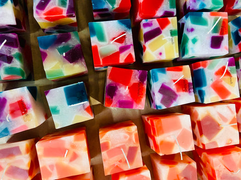 Inexpensive long burning candles, colourful candle chunks