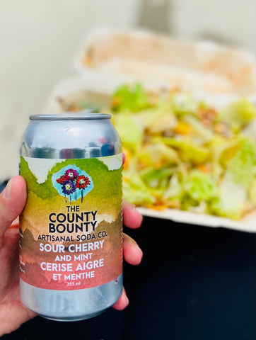 The County Bounty Artisanal Soda Co in Napanee, Ontario grown produce in locally made cider, non-alcoholic drink Lennox & Addington County, Ellena's cafe downtown Napanee, Sour cherry and mint soda, The County Bounty retail and tasting in Napanee, find across Ontario including Ottawa and Kingston