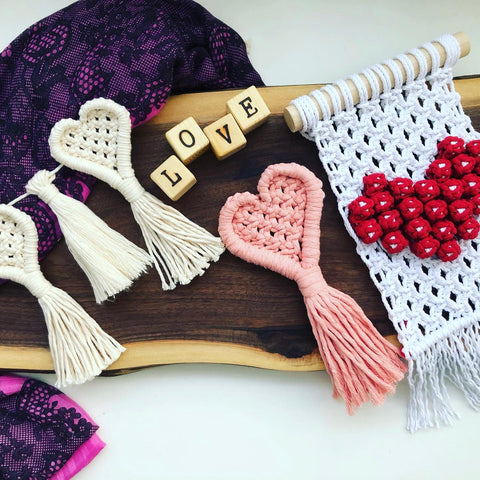 Valentine's Day Macrame Gifts, Heart Banner, Heart Macrame and Wall Hanging