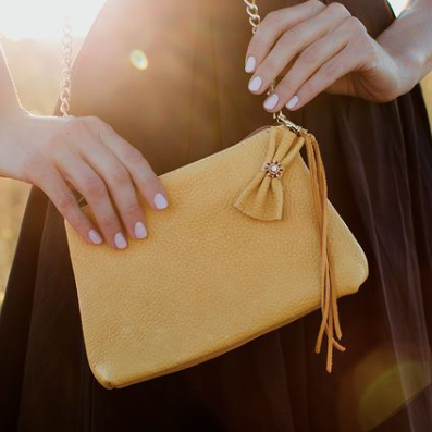She Native Goods, Elkskin leather purse in mustard colour