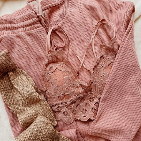 Cork and Coral Pembroke, Lace Bralette and Lounge Sets For Valentines Gifts