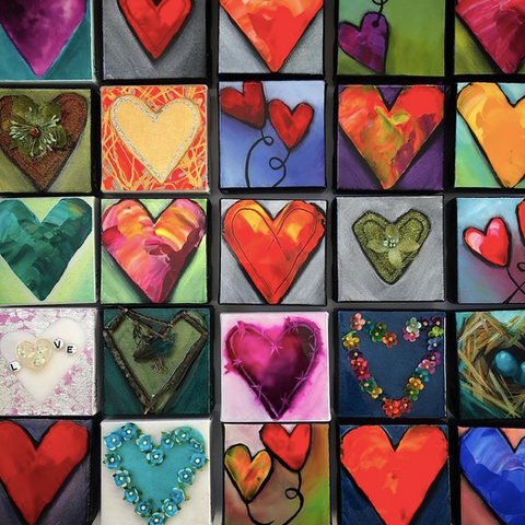 Wall of H'arts for Valentines Day, Ottawa Artist Heart Paintings on Canvas