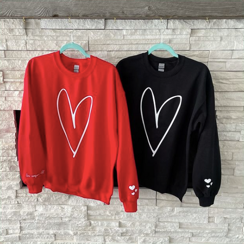 Breeing Creative Custom Apparel and Accessories Ottawa, Heart Sweaters for Valentines