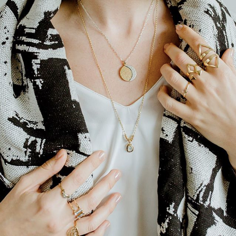 Lissa Bowie Canadian Jewelry, Mixed Metals, Canadian made rings and layered necklaces