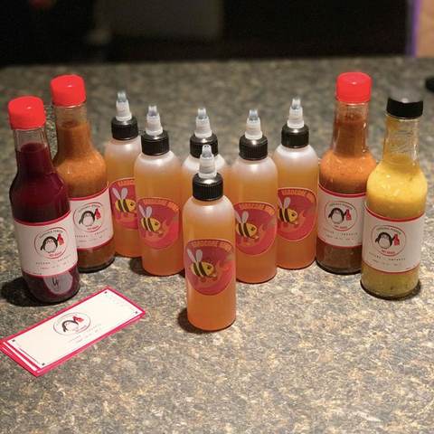 Peppered penguin hot sauce, unique hot sauce flavours in Ottawa, Ottawa made hot sauce and spicy habanero honey, new hot sauce made in Canada