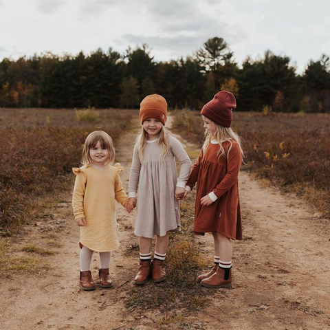 Little Wandered Clothing for kids, dresses rompers lounge sets and accessories for babies and toddlers, Canadian made children's clothing, modern clothing for children handmade in the Ottawa area