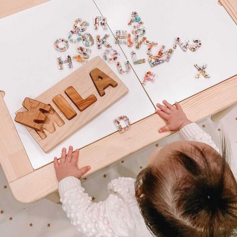 Maple Moose custom toys, wooden name puzzles personalized for kids, Canadian made wooden toys for kids of all ages, customize their name in a puzzle, children's toys in Ottawa, ABC puzzles