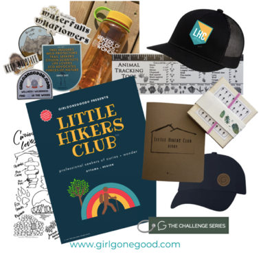 Little Hikers Club Adventure Kit, Gift ideas for kids that explore, outdoorsy activities for children, nature activity book, water bottle for kids, youth hats, nature ID sheets, Ottawa gift ideas