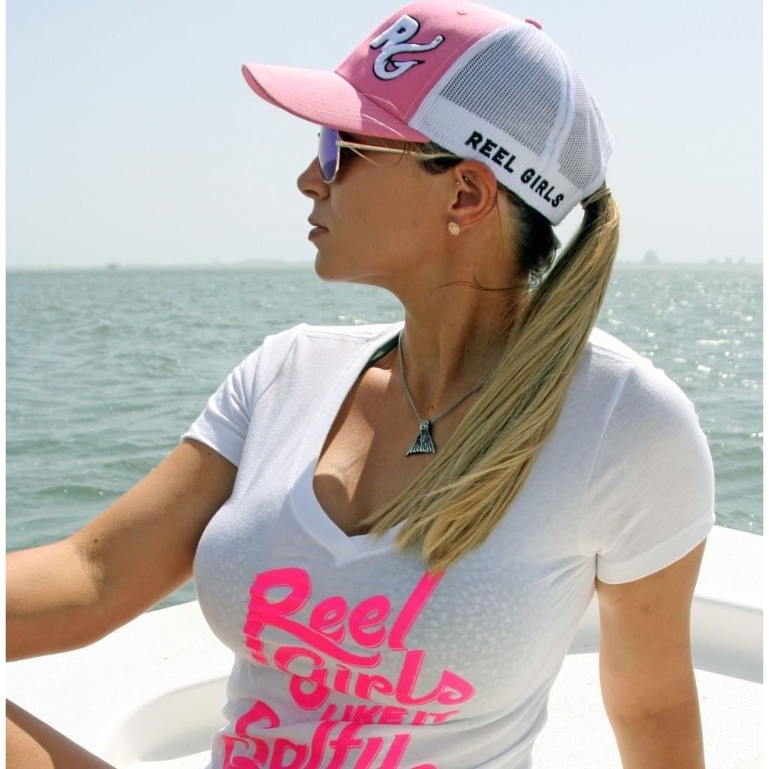 Reel Girls Like It Salty and Wet Classic V Neck T-Shirt - White with Pink