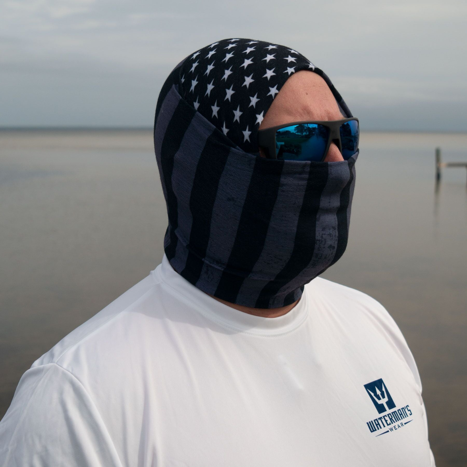 Waterman's Wear Tactical Black Face Mask- Made In the USA UPF50