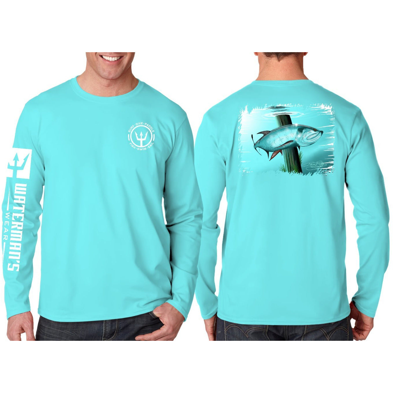 Waterman's Wear Custom Cruisin' Tarpon UPF50 Long Sleeve Fishing Shirt by Coleman Bradley - Teal