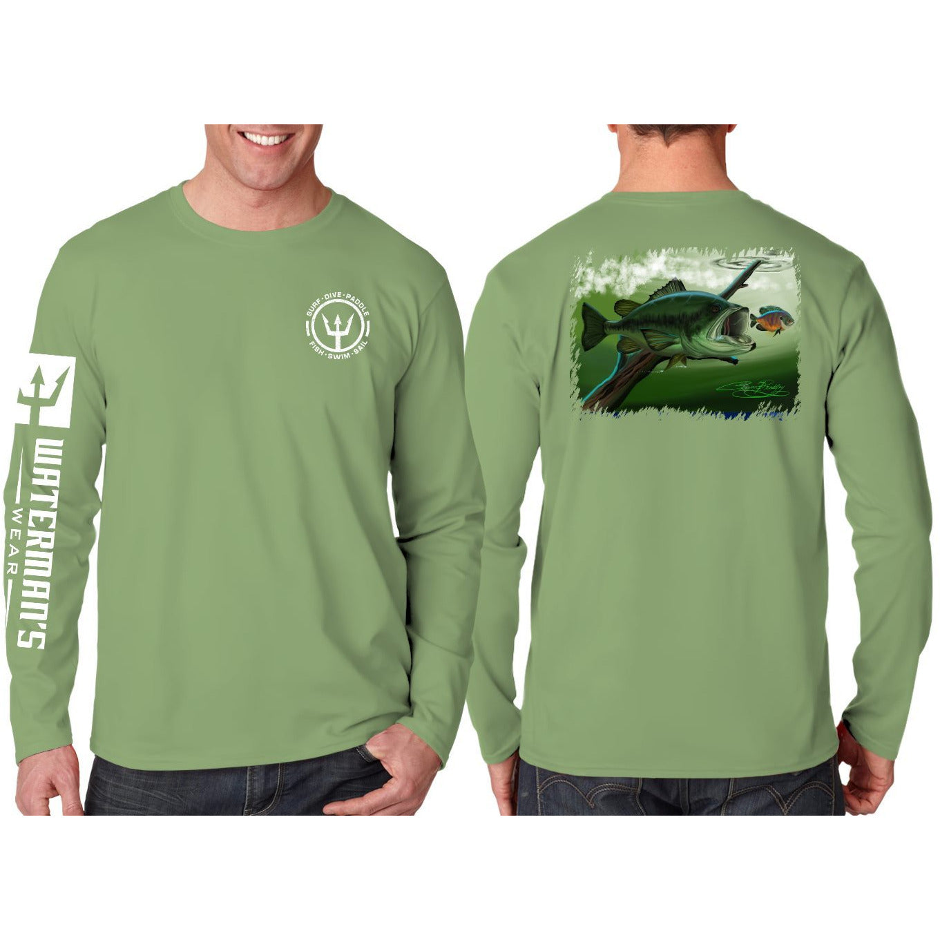Waterman's Wear Hungry Large Mouth Bass UPF50  Long Sleeve Fishing Shirt by Coleman Bradley - Green