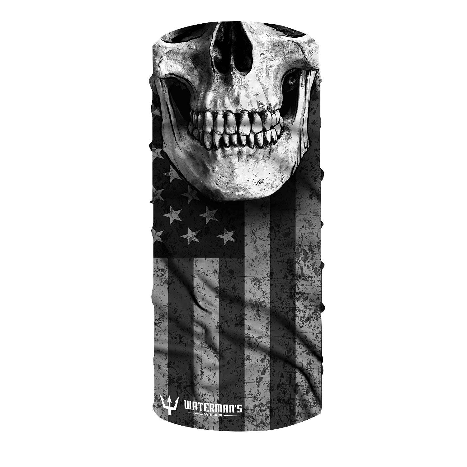 Waterman's Wear Blackout American Flag Skull Face Mask UPF50