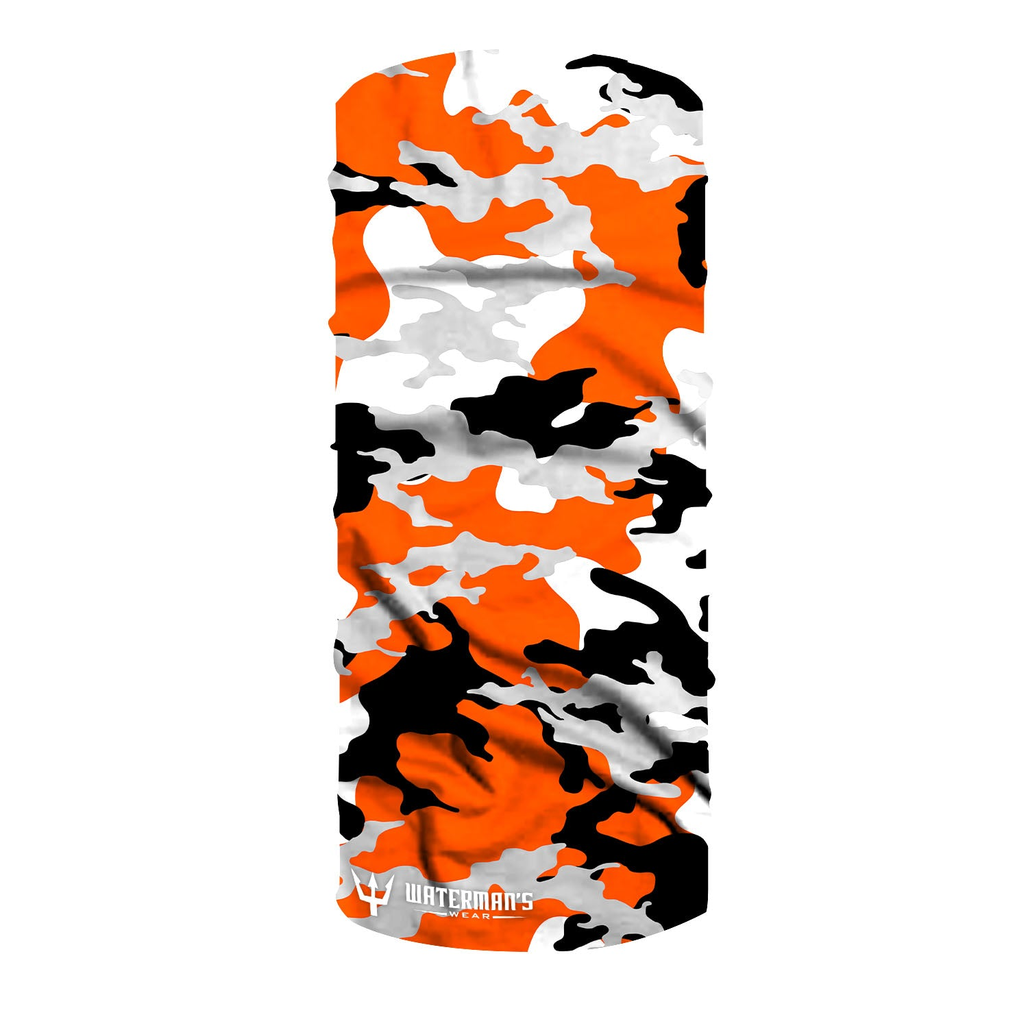 Waterman's Wear Orange Camo Face Mask Made in the USA UPF50 Sun Protection