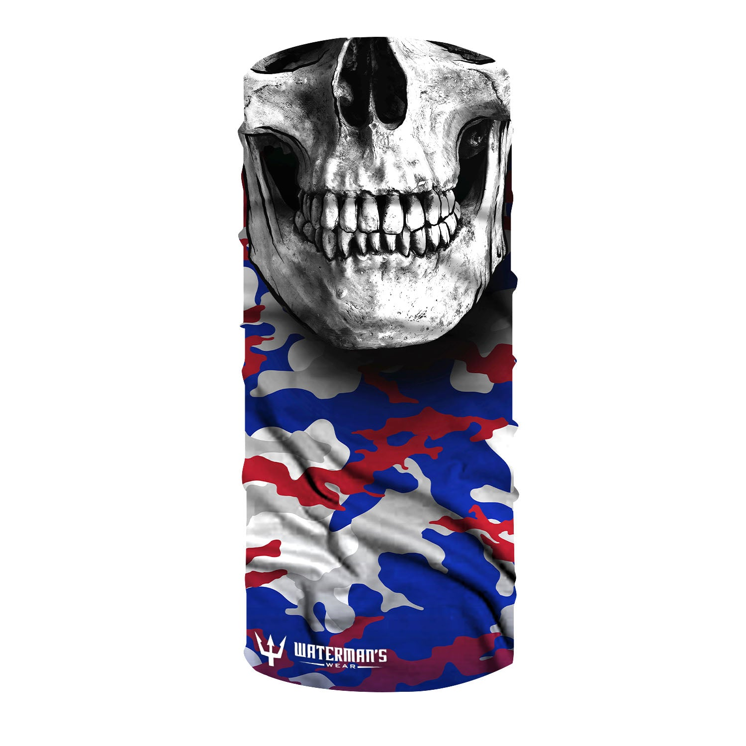 Waterman's Wear Patriot Camo Skull UPF50 Face Mask