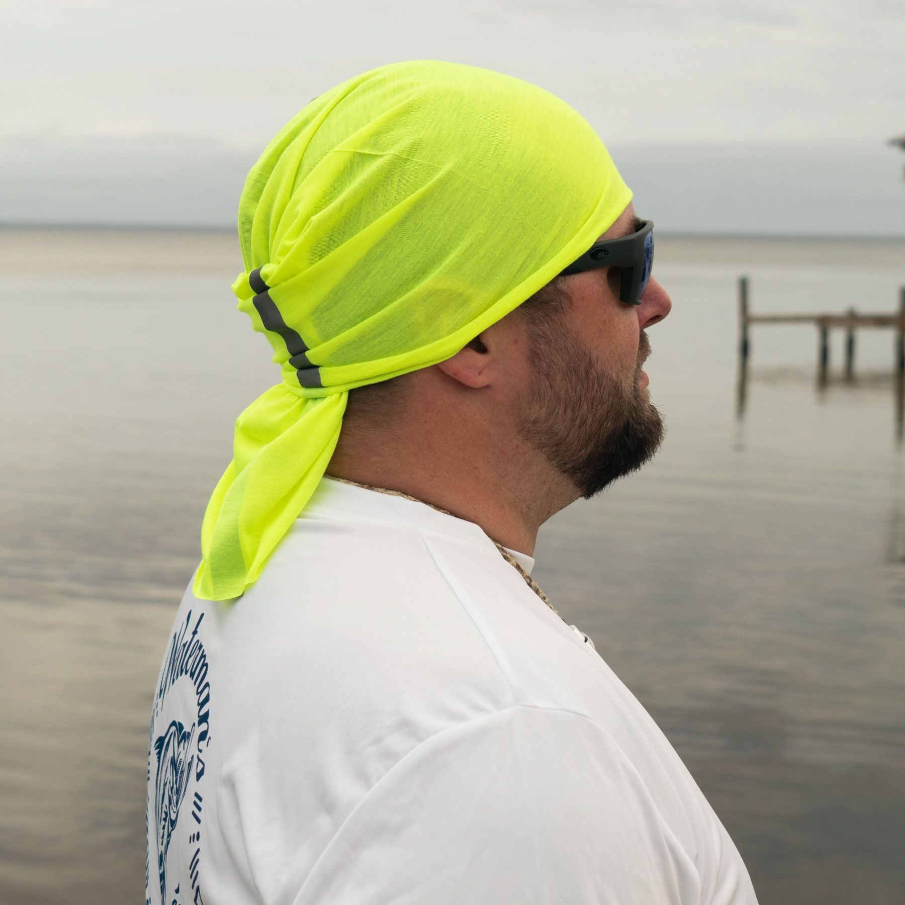 Waterman's Wear High Visibility Green Face Mask UPF50