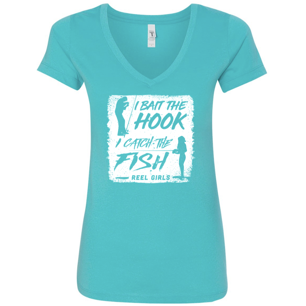 Reel Girls I Bait the Hook, I Catch the Fish Classic V Neck T-Shirt - Teal with White