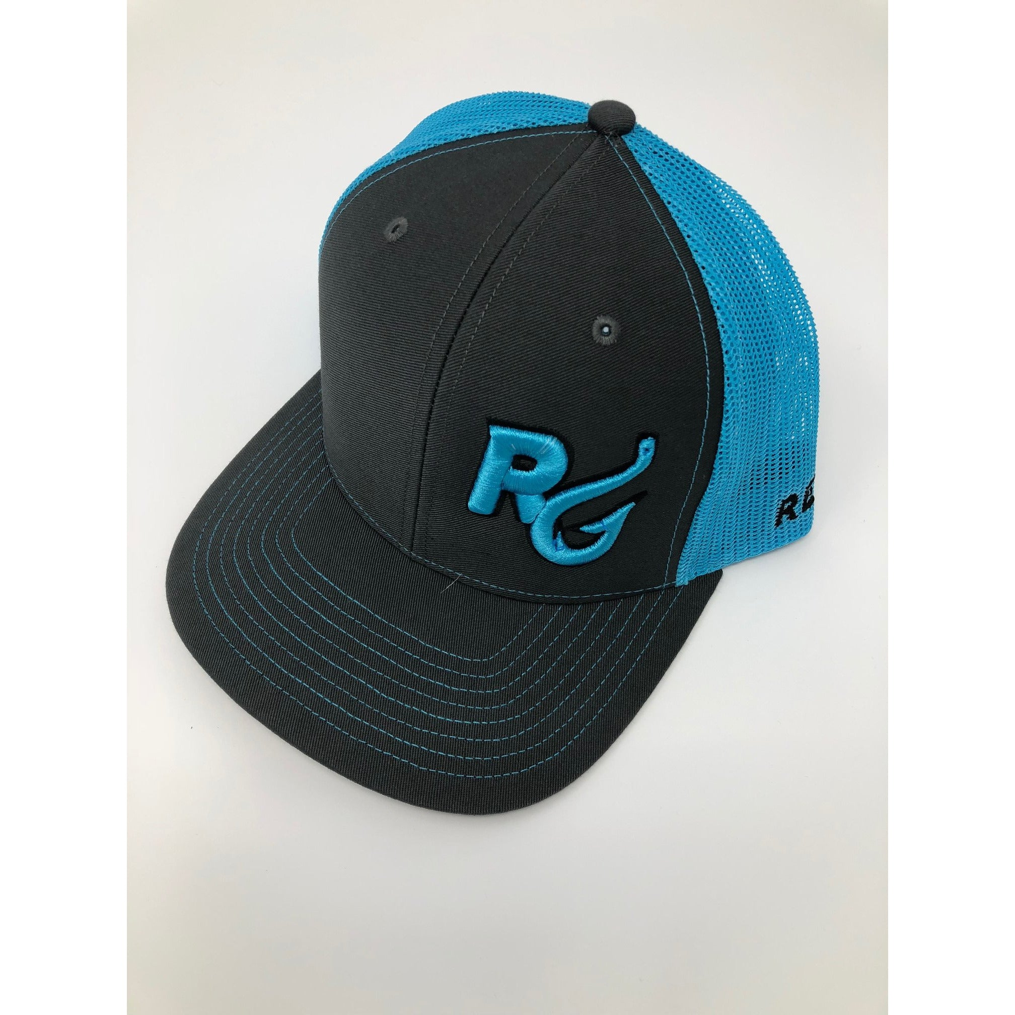 Reel Girls Classic Logo Adjustable Trucker Hat - Charcoal with Neon Blue