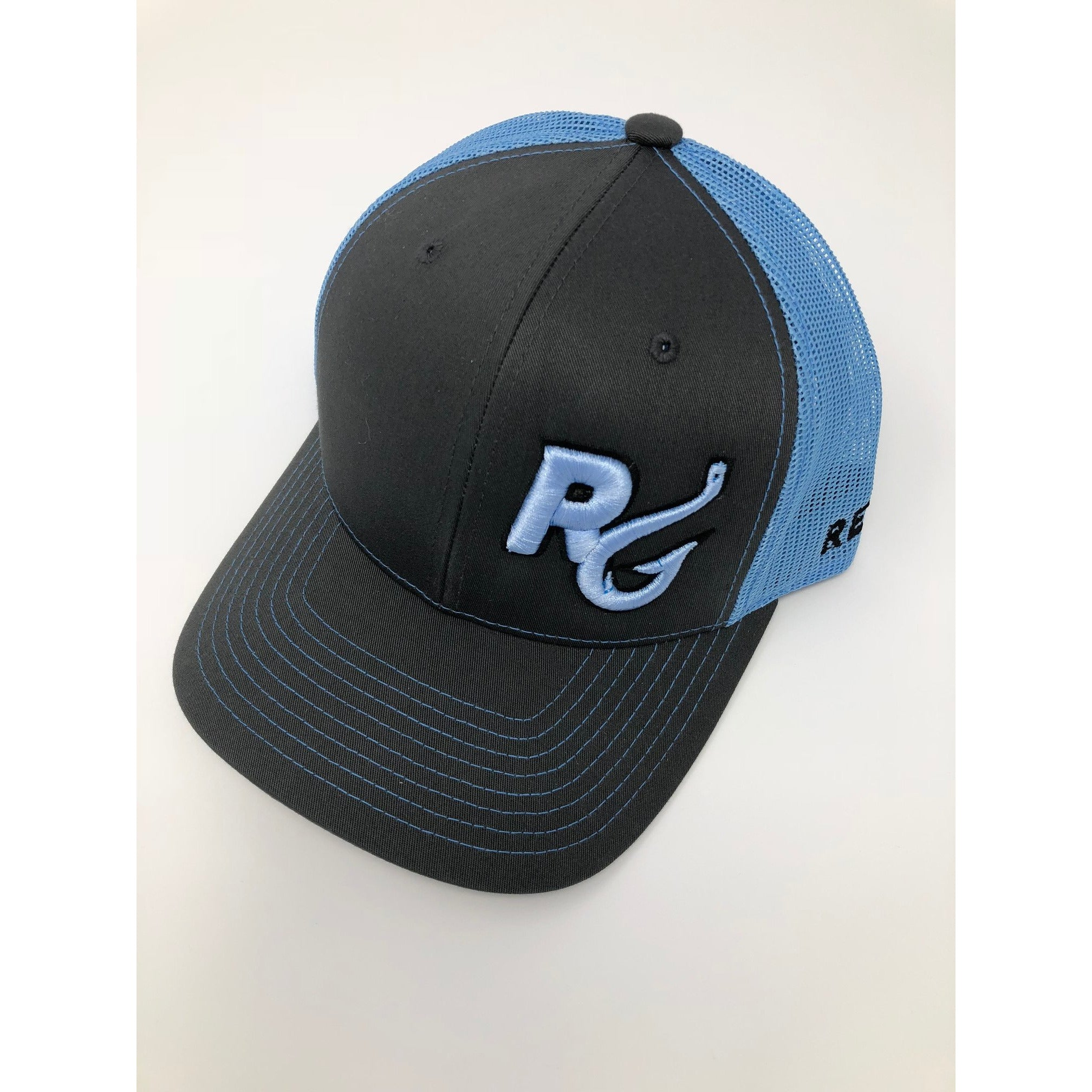 Reel Girls Classic Logo Adjustable Trucker Hat - Charcoal with Columbia Blue