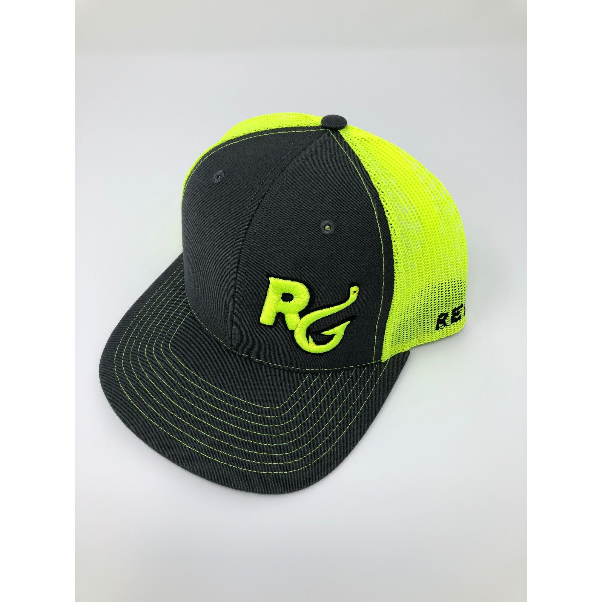 Reel Girls Classic Logo Adjustable Trucker Hat - Charcoal with Neon Yellow