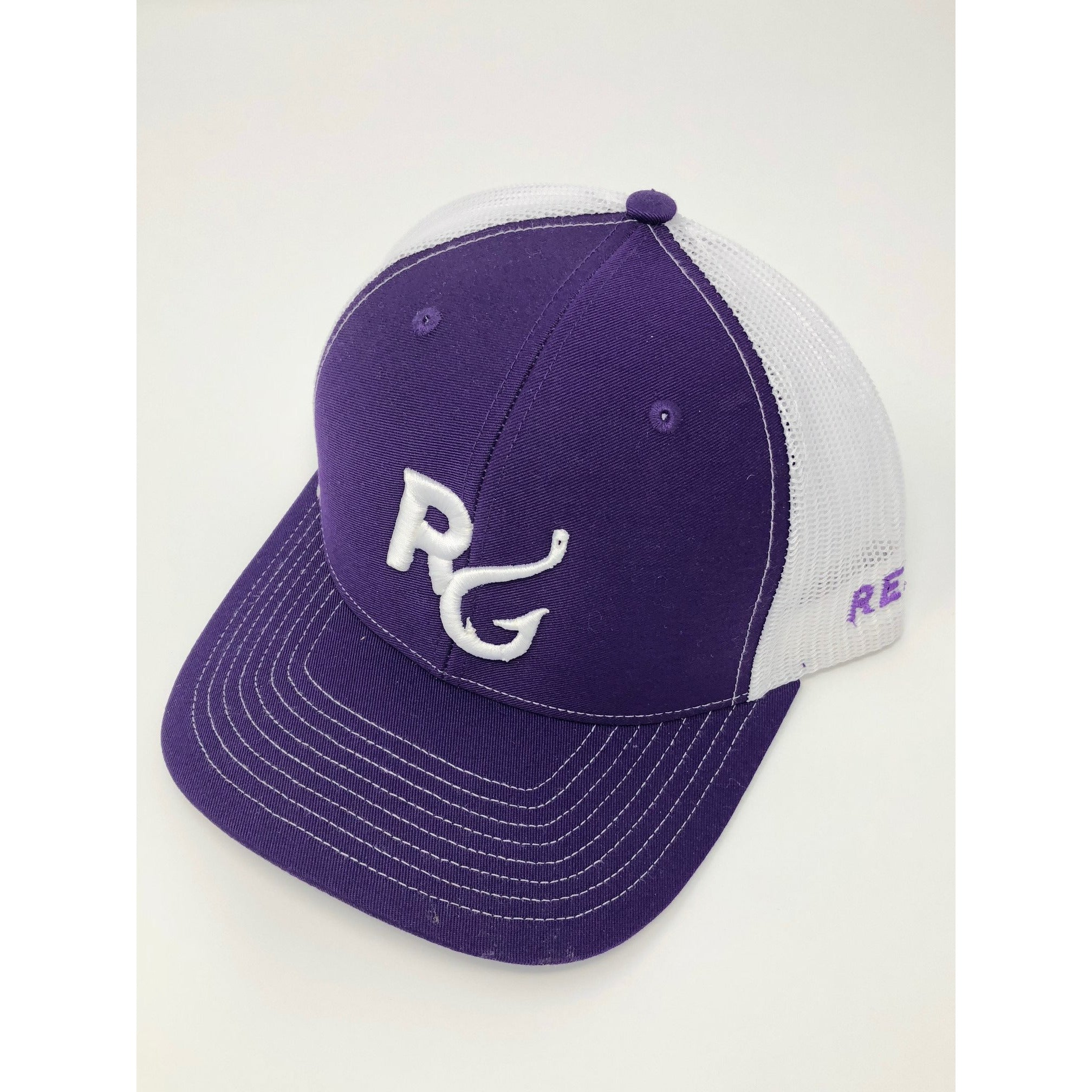 Reel Girls Classic Logo Adjustable Trucker Hat - Purple with White