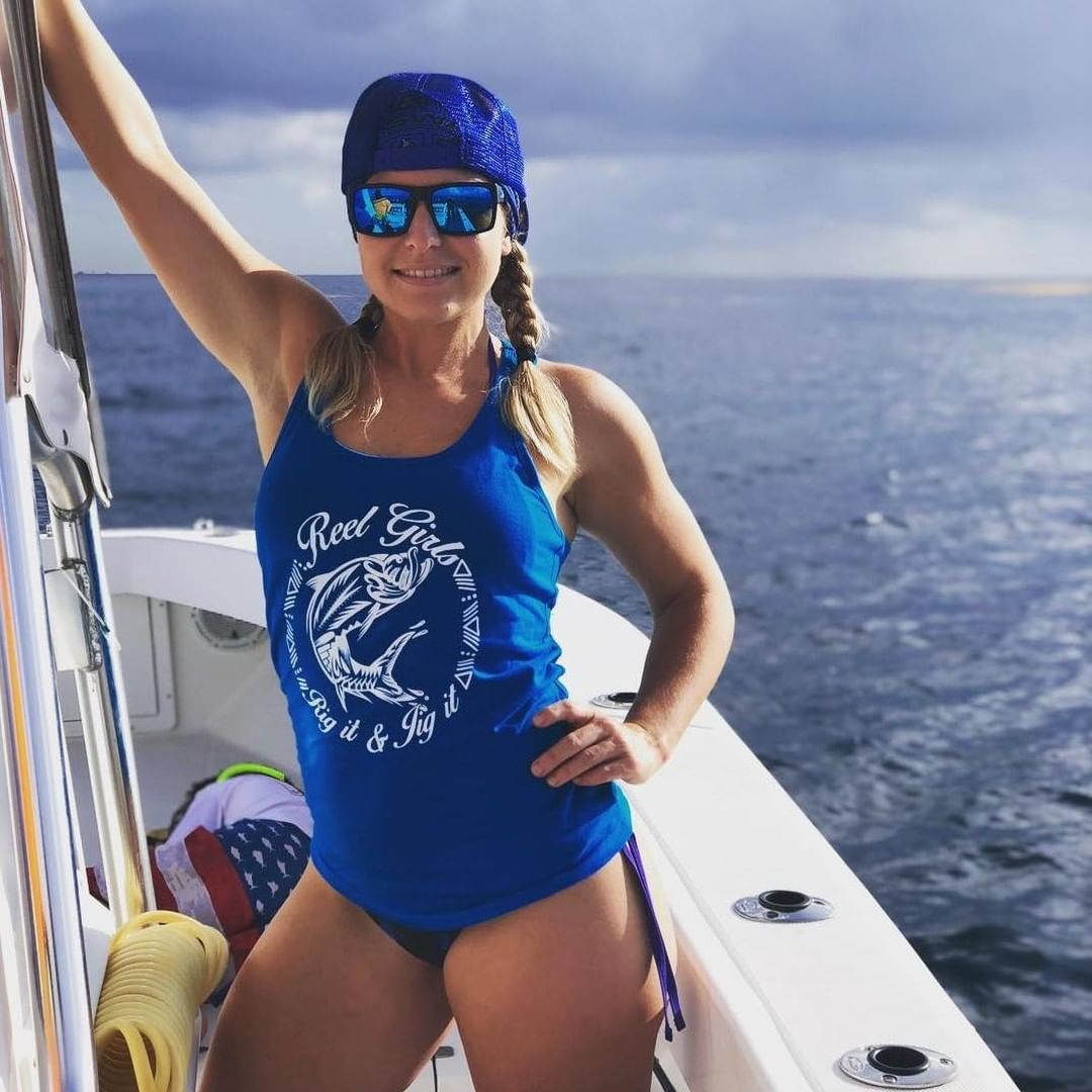 Reel Girls Racerback Tarpon Rig It & Jig It Tribal Tank Top - Blue with White