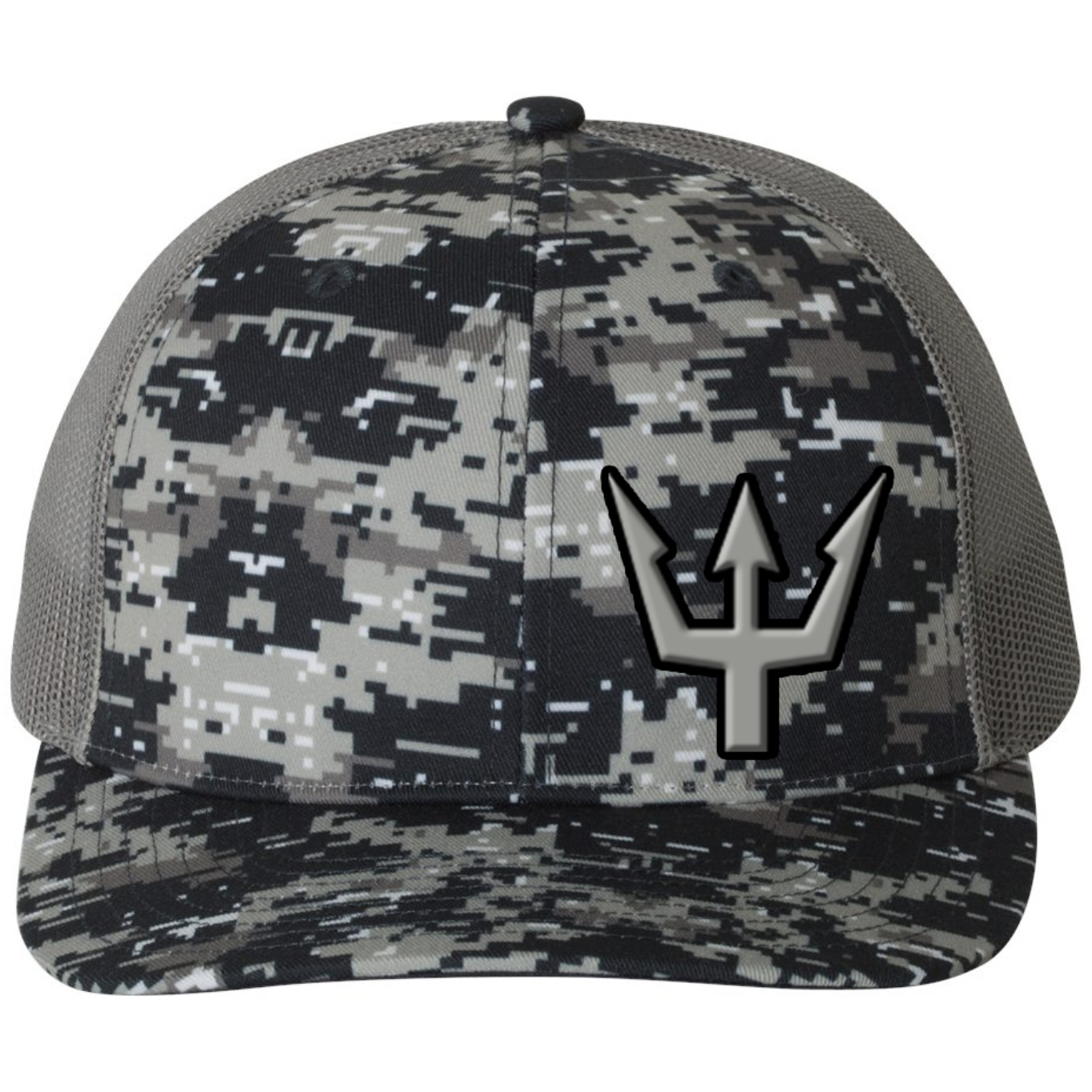 Waterman's Wear Trident Logo Adjustable Mesh Back Trucker Hat - Digital Military Camo/Charcoal