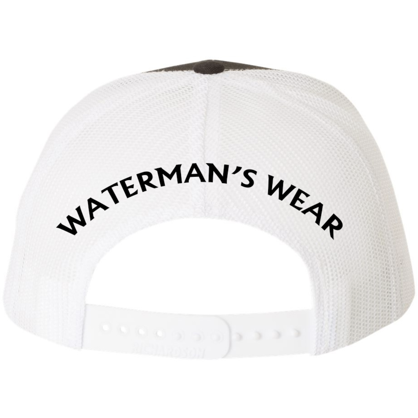 Waterman's Wear Trident Logo Dual Color Adjustable Trucker Hat - Black with White