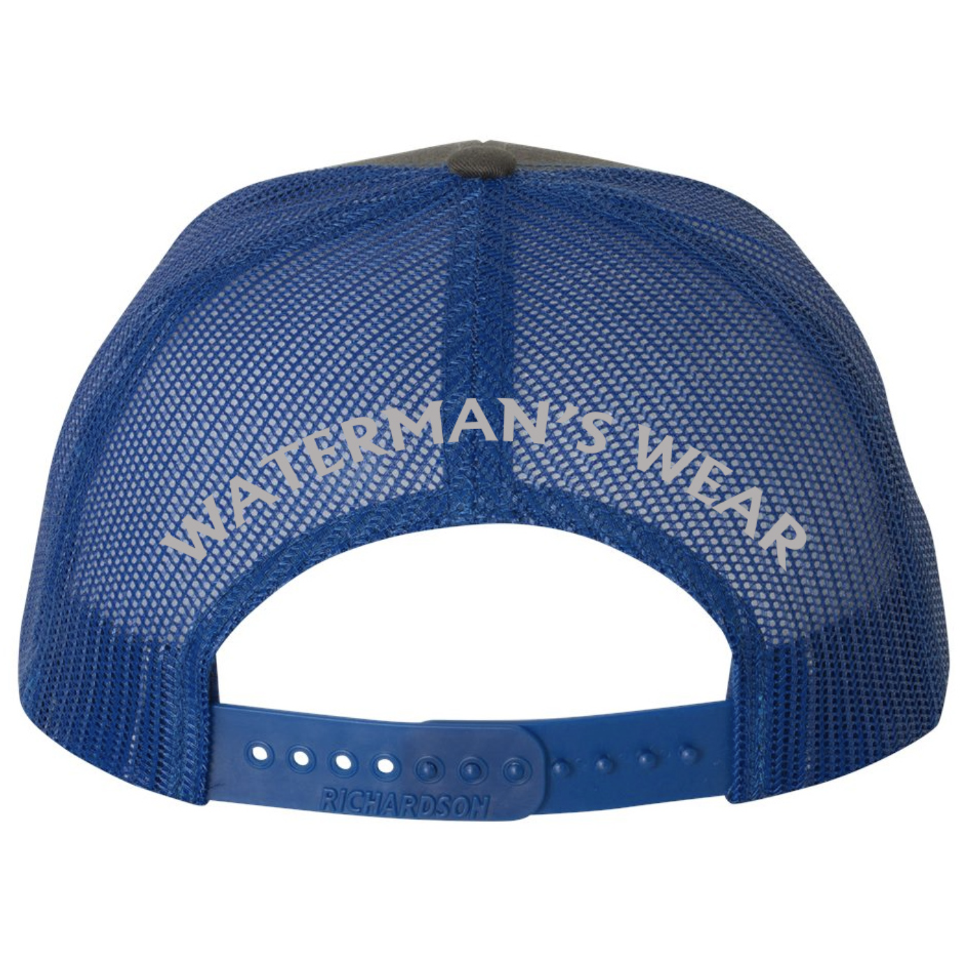 Waterman's Wear Trident Logo Dual Color Adjustable Trucker Hat - Charcoal/Royal Blue